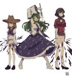 3girls autumn_leaves bangs black_footwear blonde_hair blue_skirt boots breasts brown_headwear brown_skirt closed_mouth collared_shirt commentary constricted_pupils cross-laced_footwear detached_sleeves exploding_clothes eyebrows_visible_through_hair frog_hair_ornament full_body fundoshi gohei green_eyes green_hair hair_ornament hair_tubes hat high_heel_boots high_heels highres japanese_clothes kneehighs kochiya_sanae large_breasts leaf_hair_ornament long_hair long_skirt long_sleeves looking_at_viewer looking_to_the_side medium_breasts medium_hair miko mirror moriya_suwako multiple_girls nontraditional_miko one_eye_closed open_mouth panties puffy_short_sleeves puffy_sleeves purple_hair purple_skirt purple_vest red_eyes red_shirt rope shimenawa shirt shoes short_hair short_over_long_sleeves short_sleeves simple_background skirt skirt_set sleeveless sleeveless_shirt sleeves_past_wrists snake socks sokura_(mochichitose) standing star_(symbol) surprised touhou turtleneck underwear vest white_background white_legwear white_panties white_shirt white_sleeves wide_sleeves yasaka_kanako