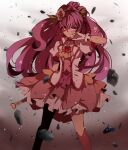 1girl asymmetrical_bangs bangs battle blurry blurry_background bruise bruise_on_face choker commentary_request cowboy_shot cure_grace debris dirty dress earrings floating_hair flower flower_request gloves gradient gradient_background hair_between_eyes hair_flower hair_leaf hair_ornament hanadera_nodoka healin'_good_precure healing_wand heart heart_hair_ornament injury jewelry lazy_orange leaf_earrings long_hair magical_girl partial_commentary pink_choker pink_dress precure rose rubble scratches serious shadow sideways_glance solo tiara torn_clothes very_long_hair white_gloves wiping_face