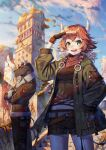 1boy 1girl braid brown_coat brown_hair brown_shorts building clouds coat day fantasy furry hair_ornament hand_up hands_in_pockets highres horns jacket nengajou new_year original outdoors sho_(sumika) shorts standing twin_braids