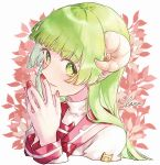 1girl badge closed_mouth curled_horns eyebrows_visible_through_hair green_eyes green_hair hands_together highres horns leaf long_hair long_sleeves mairimashita!_iruma-kun pointy_ears purutera red_nails red_sailor_collar sailor_collar simple_background smile solo straight_hair turtleneck valac_clara visible_ears