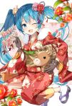 1girl akeome animal bell blue_eyes blue_hair blurry_foreground brown_gloves camellia chinese_zodiac cow fang floral_background flower fur-trimmed_kimono fur_trim gloves hair_flower hair_ornament happy_new_year hatsune_miku highres holding holding_animal horns japanese_clothes kikumon kimono leaf legs_up looking_at_viewer mukuro_usss neck_bell new_year obi one_eye_closed open_mouth petals red_flower rope sash skin_fang smile solo vocaloid year_of_the_ox