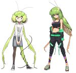 2girls absurdres antennae black_legwear bug camisole denim denim_skirt evolvingmonkey grasshopper grasshopper_inoue green_hair green_legwear highres insect insect_girl mantis_akiyama mismatched_legwear multiple_girls navel off_shoulder open_toe_shoes original parasite praying_mantis sandals see-through shoes skirt sneakers sports_bra white_background worms