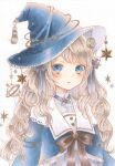 1girl :o blue_eyes brown_ribbon copyright_request curly_hair frills hair_ribbon hat highres light_brown_hair making-of_available marker_(medium) open_mouth paruno ribbon shirt solo star_(symbol) striped tassel traditional_media white_background white_shirt witch_hat