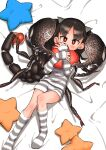 1girl black_hair evolvingmonkey heart heart_pillow highres insect_girl kneehighs lying on_back original pajamas pillow pillow_hug pincers red_eyes scorpion scorpion_tsuchida short_shorts shorts solo star_pillow stinger