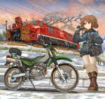 1girl absurdres bag bangs blue_sky boots brown_eyes brown_footwear brown_hair carrying closed_mouth coat commentary_request dawn eyebrows_visible_through_hair gloves gradient_sky green_ribbon grey_coat grey_gloves ground_vehicle hair_ribbon hand_in_hair highres huge_filesize kawasaki kawasaki_kl250g knee_pads locomotive logo long_sleeves looking_to_the_side medium_hair mikeran_(mikelan) motor_vehicle motorcycle orange_sky original outdoors pants partial_commentary ponytail railing ribbon satchel sky smile snow solo standing white_pants