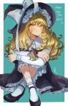 1girl 2021 black_dress black_footwear blonde_hair blush bobby_socks border bow braid closed_mouth commentary_request crossed_ankles dress frills full_body green_background hair_between_eyes hair_ribbon hat hat_bow highres kirisame_marisa knees_up long_hair long_sleeves looking_at_viewer mary_janes new_year outside_border purple_ribbon ribbon rosette_(roze-ko) shoes side_braid simple_background single_braid sitting smile socks solo touhou tress_ribbon wavy_hair white_border white_bow white_legwear witch_hat yellow_eyes
