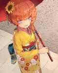 1girl bangs blue_eyes blush braid breasts crown_braid fate/grand_order fate_(series) floral_print flower gyuu_kaku_(gyu400) hair_flower hair_ornament highres japanese_clothes kimono long_hair long_sleeves looking_at_viewer obi oil-paper_umbrella open_mouth orange_hair sash side_braid small_breasts smile sunflower umbrella van_gogh_(fate) wide_sleeves yellow_kimono