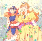 1boy 1girl :d ^_^ armor blurry blush cape closed_eyes confetti crowd depth_of_field dragon_quest dragon_quest_i elbow_gloves embarrassed flying_sweatdrops gloves helmet hero_(dq1) holding_hands horned_helmet long_hair open_mouth orange_hair princess_laura puffy_short_sleeves puffy_sleeves short_sleeves smile tiara yuza