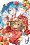 1girl animal bell blue_eyes blue_hair blurry_foreground brown_gloves camellia chinese_zodiac cow fang floral_background flower fur-trimmed_kimono fur_trim gloves hair_flower hair_ornament hatsune_miku highres holding holding_animal horns japanese_clothes kikumon kimono leaf legs_up looking_at_viewer mukuro_usss neck_bell new_year obi one_eye_closed open_mouth petals red_flower rope sash skin_fang smile solo vocaloid year_of_the_ox