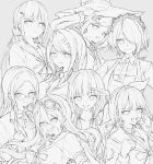 6+girls :d absurdres akamatsu_kaede bangs blush breasts chabashira_tenko closed_mouth collarbone collared_shirt commentary_request danganronpa_(series) danganronpa_v3:_killing_harmony eyebrows_visible_through_hair glasses greyscale hair_ornament hair_scrunchie hairclip harukawa_maki hat highres iruma_miu iumi_urura jacket large_breasts lineart long_hair long_sleeves looking_at_viewer low_twintails monochrome multiple_girls necktie open_mouth pout ribbon scrunchie shinguuji_korekiyo shirogane_tsumugi shirt short_hair smile toujou_kirumi twintails upper_teeth yonaga_angie yumeno_himiko