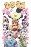 2021 6+girls alternate_costume animal_costume animal_ears bell blonde_hair blue_eyes blush_stickers braid breasts closed_eyes collar colonel_aki commentary_request cow_(life_of_maid) cow_costume cow_ears cow_horns cowbell flandre_scarlet hat highres hong_meiling horns izayoi_sakuya japanese_clothes kimono konpaku_youmu konpaku_youmu_(ghost) light_purple_hair mob_cap multiple_girls open_mouth patchouli_knowledge pink_hair red_eyes redhead remilia_scarlet saigyouji_yuyuko short_hair touhou