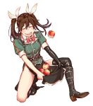 1girl apple asymmetrical_legwear black_gloves brown_hair closed_eyes commentary_request elbow_gloves food fruit gloves hair_between_eyes hair_ribbon highres kantai_collection long_hair military military_uniform pelvic_curtain remodel_(kantai_collection) ribbon single_elbow_glove single_thighhigh smile solo squatting thigh-highs tone_(kantai_collection) twintails uniform uyama_hajime white_ribbon