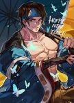 1boy abs arm_guards brown_hair bug butterfly collarbone english_commentary english_text glasses guilty_gear guilty_gear_strive headband highres holding holding_weapon insect jacket japanese_clothes looking_at_viewer male_focus mito_anji muscular muscular_male open_mouth pectorals short_hair smile solo umbrella uncle_rabbit_ii weapon