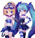 2girls aqua_hair bare_shoulders belt black_dress black_legwear blonde_hair blue_eyes blue_gloves blue_legwear blue_shirt blue_skirt burning_stone_(module) camisole chinese_commentary choker collarbone commentary cowboy_shot crop_top detached_sleeves dress gimmexgimme_(vocaloid) gloves goggles goggles_on_head hair_ornament hair_scrunchie hand_on_another's_shoulder hand_on_hip hatsune_miku heterochromia highres kagamine_rin kakutou15 long_hair looking_at_viewer magical_mirai_(vocaloid) midriff miniskirt multiple_girls navel ponytail project_diva_(series) red_eyes rockin_stone_(module) scrunchie shirt short_shorts shorts single_thighhigh skirt skull_and_crossbones skull_print smile standing striped striped_legwear striped_sleeves thigh-highs twintails very_long_hair vocaloid white_background white_legwear wireframe