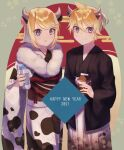 1boy 1girl 2021 animal_ears animal_print black_kimono blonde_hair blue_eyes bottle chinese_zodiac commentary cow_ears cow_horns cow_print cowboy_shot egasumi fur-trimmed_kimono fur_trim happy_new_year highres holding holding_bottle holding_carton horns japanese_clothes kagamine_len kagamine_rin kimono looking_at_viewer milk_bottle milk_carton mipi new_year open_mouth short_hair short_ponytail smile spiky_hair vocaloid white_kimono year_of_the_ox