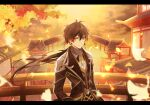 1boy bangs black_hair blurry blurry_background blurry_foreground bridge brown_hair building closed_mouth clouds cloudy_sky collar earrings falling_leaves formal genshin_impact ginkgo_leaf hair_between_eyes highres jacket jewelry leaf long_hair long_sleeves looking_at_viewer male_focus multicolored_hair ponytail single_earring sky solo suit umeno_(tuzk7284) yellow_eyes zhongli_(genshin_impact)