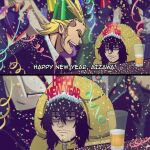 1girl 2boys aizawa_shouta all_might bags_under_eyes black_eyes black_hair blonde_hair boku_no_hero_academia closed_mouth confetti cup facial_hair hachuart happy_new_year long_hair male_focus mount_lady multiple_boys new_year open_mouth scar scar_on_face smile unamused
