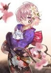 1girl ahoge animal bangs blurry_foreground blush breasts cherry_blossoms circle closed_mouth commentary_request fate/grand_order fate_(series) floral_print flower fou_(fate/grand_order) hair_between_eyes hair_flower hair_ornament hair_over_one_eye highres holding holding_animal japanese_clothes kabu_(niniko2ko) kimono long_sleeves looking_at_viewer mash_kyrielight new_year obi paint pink_flower print_kimono purple_kimono sash short_hair smile solo violet_eyes white_flower wide_sleeves