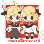 1boy 1girl 2021 akeome animal_ears bangs bell black_capelet black_hakama blonde_hair blush_stickers bow bowtie capelet chibi chinese_zodiac commentary cow_ears cow_horns cow_tail hair_ornament hairclip hakama hakama_skirt happy_new_year holding_hands horns japanese_clothes kagamine_len kagamine_rin looking_at_viewer miniskirt najo neck_bell nengajou new_year open_mouth red_neckwear shide short_hair skirt smile spiky_hair swept_bangs tail vocaloid year_of_the_ox yellow_eyes