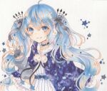 1girl black_ribbon blue_choker blue_eyes blue_hair blue_ribbon choker closed_mouth fingerless_gloves fuyu_no_yoru_miku gloves grey_gloves grey_ribbon hair_between_eyes hair_ornament hair_ribbon hatsune_miku long_hair marker_(medium) paruno pom_pom_(clothes) ribbon smile solo star_(symbol) star_choker striped traditional_media twintails vocaloid