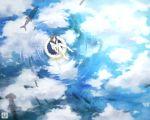 1girl artist_name barefoot brown_hair clouds fish fishing fishing_rod floating innertube kurohal long_hair looking_up original reflection school_uniform serafuku shark skirt solo water