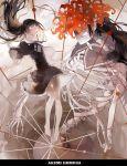 1girl akemi_homura barefoot black_hair character_name floating_hair flower highres homulilly lily_(flower) mahou_shoujo_madoka_magica mahou_shoujo_madoka_magica_movie nine_(liuyuhao1992) skeleton spoilers