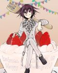 1boy bangs black_footwear cake checkered checkered_scarf commentary_request danganronpa_(series) danganronpa_v3:_killing_harmony dated food fork fruit full_body grey_jacket grin hair_between_eyes happy_birthday highres jacket kitsunebi_v3kokonn long_sleeves looking_at_viewer male_focus miniboy ouma_kokichi over_shoulder pants purple_hair scarf short_hair sitting smile solo strawberry violet_eyes