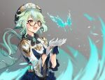 1girl :d antenna_hair blue_dress bug butterfly cape dress floating_hair fur_collar genshin_impact glasses green_hair grey_background hat highres insect long_hair long_sleeves looking_up low_ponytail multicolored_hair open_mouth semi-rimless_eyewear shrug_(clothing) smile solo steeb streaked_hair sucrose_(genshin_impact) under-rim_eyewear upper_body vision_(genshin_impact) wind yellow_eyes