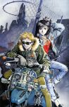 1990s_(style) 1boy 1girl absurdres black_hair blonde_hair denim gloves ground_vehicle highres jacket jeans long_hair motor_vehicle motorcycle official_art pants r20 sadamoto_yoshiyuki shoes short_hair sunglasses traditional_media