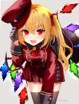 1girl :d arm_up black_gloves black_legwear blonde_hair blush brooch cape commentary cowboy_shot cravat eyebrows_visible_through_hair fang flandre_scarlet gloves grey_background hair_between_eyes hat hat_removed headwear_removed holding holding_clothes holding_hat jacket jewelry leaning_forward long_sleeves looking_at_viewer military military_hat military_uniform miniskirt one_side_up open_mouth pleated_skirt red_eyes red_jacket red_neckwear red_skirt sakizaki_saki-p short_hair simple_background skin_fang skirt sleeve_cuffs smile solo thigh-highs touhou tunic twitter_username uniform wings zettai_ryouiki