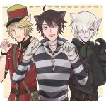 3boys :d ahoge albino andrew_kreiss animal_ears bag bandaged_neck bandages belt black_gloves blonde_hair brown_hair bruise bruised_eye capelet cat_boy cat_ears chain claw_pose closed_mouth coat cross eyebrows_visible_through_hair fang gloves green_neckwear hair_over_one_eye hat identity_v injury long_sleeves looking_at_another looking_at_viewer luca_balsa mailman male_focus multiple_boys open_mouth pale_skin popped_collar prison_clothes prisoner red_headwear scar scar_on_cheek scar_on_face scar_on_nose shirt shitari short_hair shoulder_bag sideways_glance simple_background smile stitched_mouth stitches striped striped_shirt sweat victor_grantz violet_eyes watch watch white_gloves white_hair yellow_eyes