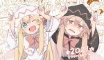 2girls annoyed arms_up black_capelet black_dress black_headwear blonde_hair blue_eyes blush bow bowtie capelet commentary_request dress dual_persona fairy fairy_wings finger_horns half-closed_eyes hat highres horns_pose index_fingers_raised light_brown_hair lily_black lily_white long_hair long_sleeves multiple_girls nose_blush open_mouth red_bow red_neckwear smile touhou transparent_wings very_long_hair wavy_mouth white_capelet white_headwear wide_sleeves wings yutamaro