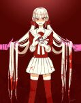 1girl bangs blood bloody_clothes bottle collarbone commentary_request crying crying_with_eyes_open danganronpa_(series) danganronpa_v3:_killing_harmony eyebrows_visible_through_hair feet_out_of_frame hands_up harukawa_maki holding holding_another's_hair holding_bottle limited_palette long_hair low_twintails mole mole_under_eye nagi_to_(kennkenn) pleated_skirt red_background red_eyes red_scrunchie red_shirt red_theme sailor_collar scrunchie shirt skirt sleeves_past_elbows solo_focus spoilers tears teeth thigh-highs twintails very_long_hair zettai_ryouiki