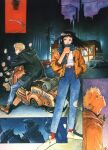 1990s_(style) 1girl 2boys black_hair blonde_hair brown_eyes goggles goggles_removed ground_vehicle highres jacket key long_hair motor_vehicle motorcycle multiple_boys official_art r20 robot sadamoto_yoshiyuki scarf science_fiction shoes short_hair smile traditional_media