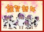 6+girls :d ;) all_fours animal_ears animal_print bangs blush border brown_background chinese_zodiac closed_eyes closed_mouth commentary_request cow_ears cow_horns cow_print dark_skin eyebrows_visible_through_hair fake_animal_ears fake_horns fate/prototype fate/prototype:_fragments_of_blue_and_silver fate_(series) floral_background hair_between_eyes hands_up hassan_of_serenity_(fate) hood hood_up hoodie horns i.u.y long_sleeves multiple_girls multiple_persona one_eye_closed open_mouth parted_lips print_hoodie profile puffy_long_sleeves puffy_sleeves purple_hair red_border shadow sitting sleeves_past_wrists smile sparkle_background standing translation_request v-shaped_eyebrows violet_eyes white_hoodie year_of_the_ox