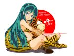 1boy 1girl animal_print bikini blue_eyes boots commentary_request cushion eyebrows_visible_through_hair eyeshadow full_body green_hair happoubi_jin happy_new_year horns hug hug_from_behind knee_boots long_hair looking_at_viewer lum makeup new_year oni oni_horns rei_(urusei_yatsura) simple_background sitting smile strapless strapless_bikini sun swimsuit tiger_print tiger_stripes urusei_yatsura white_background