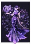 1girl armlet astrologian_(final_fantasy) au_ra black_hair border bracer card dragon_horns dragon_tail final_fantasy final_fantasy_xiv forehead full_body highres horns laurel_crown long_hair lyra-kotto scales sleeveless solo tail violet_eyes white_border