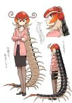 1girl antennae bug cardigan centipede centipede_girl centipede_maeshima check_translation crossed_arms evolvingmonkey full_body highres insect_girl original pantyhose pencil_skirt red_eyes skirt translation_request white_background
