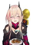 1girl black_jacket blush closed_eyes dinergate_(girls_frontline) food girls_frontline highres holding holding_food jacket long_hair m4_sopmod_ii_(girls_frontline) mechanical_arms multicolored_hair open_mouth pink_hair smile smoke solo suprii white_background