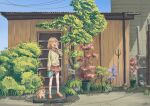 1girl adapted_costume berries blonde_hair bubba_(watson_amelia) bush cardigan corrugated_galvanised_iron_sheet day dog door gutter highres hololive hololive_english jl_tan morning name_tag outdoors pitchfork plant porch potted_plant power_lines shade shed signature slippers solo tree virtual_youtuber watering_can watson_amelia yawning