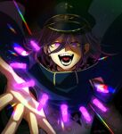 1boy :d artist_name bangs black_cape black_headwear bullet cape checkered checkered_scarf commentary_request danganronpa_(series) danganronpa_v3:_killing_harmony evil_grin evil_smile fangs flipped_hair floating_cape glowing glowing_eye grin hat looking_at_viewer male_focus nagi_to_(kennkenn) open_hand open_mouth ouma_kokichi peaked_cap purple_hair scarf short_hair smile solo teeth tongue upper_body violet_eyes