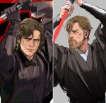 2boys absurdres anakin_skywalker arms_up bangs beard black_gloves brown_eyes brown_hair closed_mouth commentary dark_persona energy_sword english_commentary facial_hair gloves grey_robe highres holding holding_sword holding_weapon lightsaber lips long_sleeves looking_at_viewer looking_to_the_side male_focus mechanical_arm multiple_boys mustache obi-wan_kenobi parted_lips prosthesis prosthetic_arm robe scar scar_across_eye scar_on_face serious short_hair sith split_screen star_wars sword thisuserisalive upper_body weapon what_if