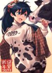 1girl 2021 :d ahoge animal animal_ears antenna_hair artist_name bangs black_hair black_legwear blue_eyes blush breasts brown_scarf chinese_zodiac cow cow_ears cow_horns cowboy_shot dress eyebrows_visible_through_hair fake_animal_ears fake_horns fang ganaha_hibiki gradient gradient_background hair_between_eyes hair_ornament hair_scrunchie hairband highres horns idolmaster idolmaster_(classic) long_sleeves medium_breasts mikel_(4hands) new_year open_mouth pantyhose plaid plaid_scarf ponytail print_dress print_sweater scarf scrunchie signature skin_fang smile solo sweater sweater_dress two-tone_hairband year_of_the_ox yellow_background