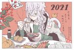 1boy 2021 animal asclepius_(fate) fate/grand_order fate_(series) food green_eyes highres snake white_hair