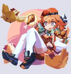 1girl bangs bird breasts bucket chef_hat chicken chicken_leg floating food gradient_hair green_hair hat highres holding holding_food hololive hololive_english looking_up medium_breasts multicolored_hair orange_hair orange_headwear shoes sneakers solo takanashi_kiara thigh-highs virtual_youtuber white_headwear xyzal
