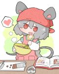:d amakaeru animal_ears apron book chocolate green_background grey_hair hat heart highres nazrin open_mouth red_headwear smile speech_bubble tail touhou
