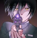 1boy bangs bbjj_927 black_background black_hair black_jacket brown_background brown_eyes commentary_request crying crying_with_eyes_open danganronpa_(series) danganronpa_v3:_killing_harmony face foreshortening glowing gradient gradient_background gun hair_between_eyes handgun hands_up holding holding_gun holding_weapon jacket long_sleeves looking_at_viewer male_focus revolver saihara_shuuichi serious short_hair solo tears weapon