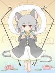 amakaeru animal_ears clouds flower gem gradient gradient_background grey_hair highres lily_(flower) lily_pad nazrin red_eyes smile tail touhou
