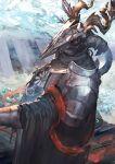 arknights armor cloak fan highres horns hose mask patriot_(arknights) pauldrons red_eyes ribbon shield shoulder_armor umiu_geso weapon