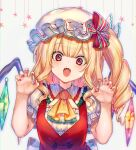 1girl ascot bangs blonde_hair blouse blush bow claw_pose cleavage_cutout clothing_cutout commentary crystal curly_hair embellished_costume flandre_scarlet frilled_hat frilled_neckwear frilled_shirt_collar frilled_sleeves frills hair_ribbon hand_up hat here_(hr_rz_ggg) highres juliet_sleeves long_sleeves looking_at_viewer medium_hair multicolored multicolored_ribbon nail_polish open_mouth ponytail puffy_sleeves raised_eyebrows red_eyes red_nails red_ribbon red_vest ribbon sash shirt side_ponytail sidelocks simple_background solo star_(symbol) symbol_commentary touhou vest white_background white_blouse white_bow white_sash white_shirt wings yellow_neckwear